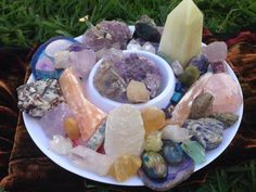 """earthlyspirit: """"A few of my crystals being gathered in preparation for tonight's full moon/lunar eclipse. With the circulation of full moon energy, the current astronomical placement and mercury in. Crystal Room, Crystal Altar, Crystal Magic, Crystal Healing Stones, Crystal Decor, Crystals And Gemstones, Stones And Crystals, Witch Room, Crystal Aesthetic"""