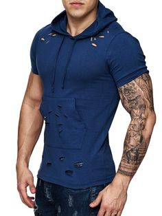 Nice slim fit / muscle fitted Ripped hooded T-shirt IMPORTANT: Please use the size chart to pick the correct size for you. * FORM / BODY / MUSCLE FITTED * 100% COTTON