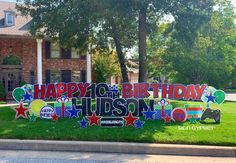 Birthday Yard Signs, Yard Party, Red And Blue, Gypsy, Happy Birthday, Neon Signs, Bonito, Messages, Art