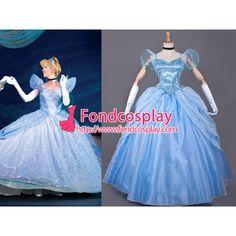 Free Shipping Disney Princess Cinderella Dress Movie Cosplay Costume Custom-made