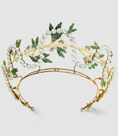 An Art Nouveau gold, pearl, diamond and enamel tiara, by René Lalique, Paris, circa 1903.