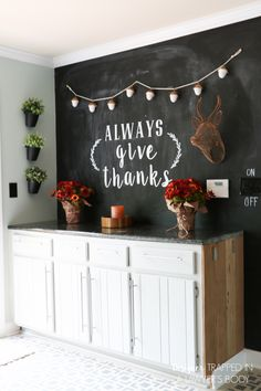 LOVE THIS fall chalkboard art and fall decor from Designer Trapped in a Lawyer's…