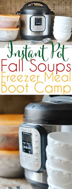 Pot Fall Soups Freezer Meal Boot Camp The newest Instant Pot Freezer Meal Boot Camp is all about fall soup recipes! Check out this selection of cheap easy monthly recipes that has chilis, soups, and stews. Freezer Cooking, Freezer Meals, Easy Meals, Cooking Ribs, Fast Dinners, Cooking Turkey, Camping Meals, What's Cooking, Camping Hacks