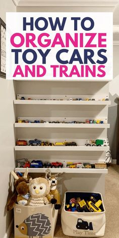 Organize toy cars and trains with these playroom organizing ideas! We built picture ledges to store and organize toy cars. Find out how to organize your kids toy cars. Playroom Organization, Organization Hacks, Organizing Ideas, Organizing Toys, Matchbox Cars, Storage Baskets, Toy Storage, Organizing Your Home, Getting Organized