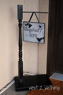 Love this post! Welcome sign.  Could make more colorful (less Halloween) for all year display