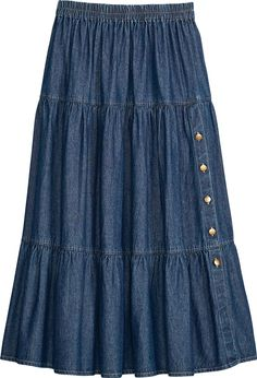 Tiered Denim Skirt With Button Accent – skirt outfits Midi Skirt Outfit Casual, Midi Rock Outfit, Denim Skirt Outfits, Casual Skirts, Biker Outfits, Women's Casual, Long Skirt Outfits For Summer, Skirts With Boots, Jean Skirts