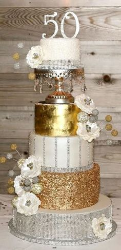 Glam Silver & Gold 50th Birthday Cake