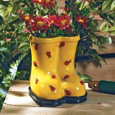 25 Best Ceramic Rain Boot Planters Images On Pinterest Planters