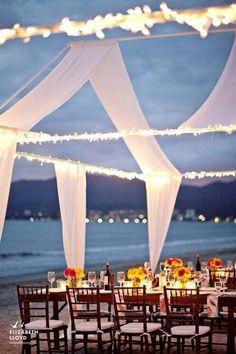 Beach wedding setting.