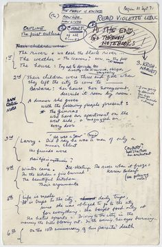 "Famous Authors' Handwritten Outlines for Great Works of Literature: James Salter for ""Light Years"""