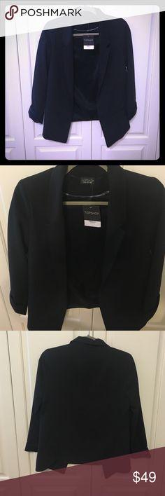 Selling this NWT Topshop Blazer in Black size US 4 on Poshmark! My username is: emcg25. #shopmycloset #poshmark #fashion #shopping #style #forsale #Topshop #Jackets & Blazers