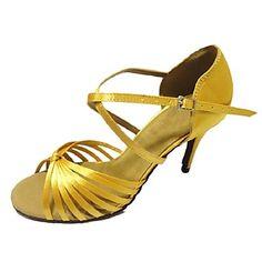 Women's Latin Ballroom Salsa Dance Shoes Samba Satin Customized Heel Black / Blue / Yellow / Green / Red / White / Gray 2016 – $33.99