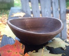 Small carved black walnut bowl