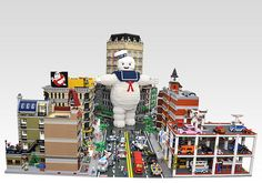 Check out this huge Lego version of the Stay Puft Marshmallow Man about to trash a minifig scale city. The impressive diorama was created by the Korean building team OliverSeon as a set to the Lego Ghostbusters I know, I know—I love those guys too. Ghostbusters Movie, Lego Movie, Big Lego, Stay Puft, Lego Pictures, Lego Builder, Lego Modular, Lego Toys, Lego Worlds