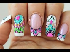 Clase #13 Como decorar en Semipermanente ♥ Deko Uñas - YouTube Gold Gel Nails, Aycrlic Nails, Love Nails, Manicure And Pedicure, Pretty Nails, Mandala Nails, Judy Garland, Toe Nail Designs, Stylish Nails