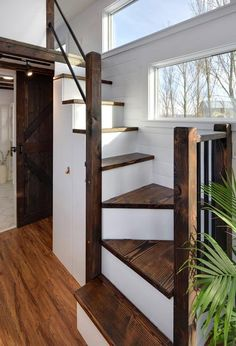 Tiny Home - Cozy and Bright! - Tiny House for Rent in Delta, British Columbia Tiny Home - Cozy and Bright! - Tiny House for Rent in Delta, British Columbia - Tiny House Listings Tiny House Closet, Tiny House Stairs, House Staircase, Tiny House Storage, Small Space Staircase, Loft Stairs, Smart Storage, Tiny Houses For Rent, Best Tiny House