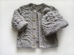 Hand Knitted Baby Cardigan and Hat - Grey, 9 - 12 months
