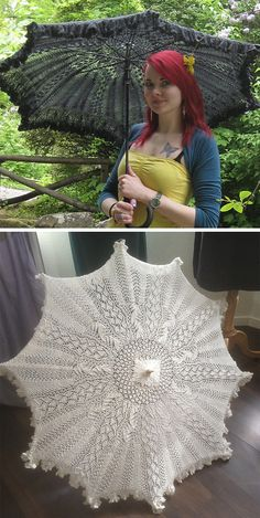 Knitting Pattern for Parasol or Shawl - Circular lace with a ruffled edge that can be attached to an umbrella frame to make a parasol or worn on its own as a stunning shawl. Size 51 inches in diameter plus ruffles. Designed by Lotta Groeger. Halloween Knitting Patterns, Baby Knitting Patterns, Lace Knitting, Knitting Projects, Crochet Projects, Crochet Patterns, Free Crochet, Knit Crochet, Purl Stitch