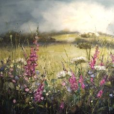 'Foxgloves and blackbird song' by Marie Mills, 100cm x 100cm, Oil on linen, £1495 www.lyndhurstgallery.co.uk