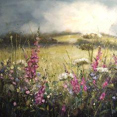'Foxgloves and blackbird song' by Marie Mills, 100cm x 100cm, Oil on linen, £1495 www.lyndhurstgallery.co.uk