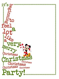 """It's beginning to feel a lot like a very merry Christmas Party! - MVMCP - Mickey - Project Life Journal Card - Scrapbooking ~~~~~~~~~ Size: 3x4"""" @ 300 dpi. This card is **Personal use only - NOT for sale/resale** Clipart & MVMCP belong to Disney. Font is Another Typewriter www.dafont.com/another-typewriter.font *** Click through to photobucket for more versions of this card including ones without Mickey Mouse ***"""