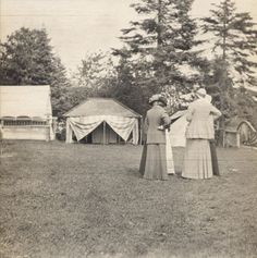 Women standing at General Fifield's Camp Stella at Sand Island, Apostle Island, Lake Superior.