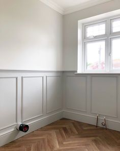 Throughout the process of panelling the lower walls in our most recent bathroom transformation, we had a lot of questions about how to achieve a panelled wall, what we were doing, what we were usin… Dining Room Paneling, Stair Paneling, White Wall Paneling, Bathroom Paneling, Dining Room Walls, Painted Paneling Walls, Paneled Walls, Wall Panelling, Wainscoting
