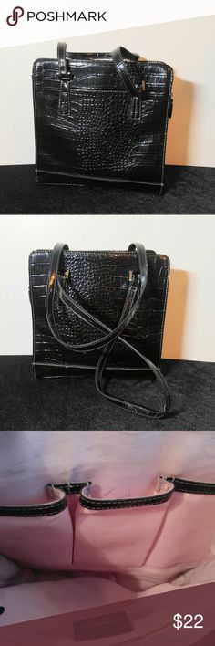 Liz Claiborne Faux Croc Shoulder Bag Liz Claiborne Faux Croc Shoulder Bag- 10.5X11 with a 9.5 in drop- This is a very nice clean Purse ..does have a couple ink marks and a few black marks.Please see photos! Liz Claiborne Bags Shoulder Bags
