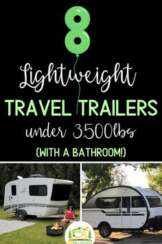 Our list of the 8 Best Lightweight Travel Trailers all have bathrooms! They are also light enough to be towed by small pickup trucks and SUVs. Toy Hauler Travel Trailer, Travel Trailer Camping, Rv Camping, Lightweight Campers, Lightweight Travel Trailers, Small Pickup Trucks, Hybrid Camper, Rent Rv, Small Campers