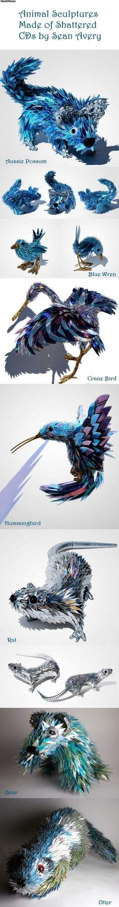 Animal sculptures made of shattered CDs by Sean Avery