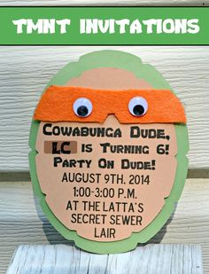 DIY Teenage Mutant Ninja Turtle Party Invitations - One Artsy Mama Ninja Turtle Party, Ninja Party, Ninja Turtle Birthday, Ninja Turtles, Turtle Birthday Parties, Birthday Party Themes, Carnival Birthday, Frozen Birthday, Frozen Party