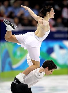 Virtue & Moir - Canadian Ice dancing. Fyi, this move is called the Canada Goose!