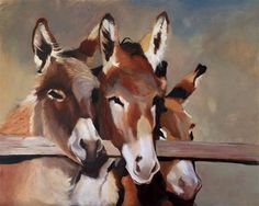 """Daily Paintworks - """"Tres Amigos"""" - Original Fine Art for Sale - © Leslie Miller Leslie Miller, Donkey Drawing, Horse Paintings, Fine Art Auctions, Horse Love, Donkeys, Horse Art, Animal Kingdom, Art For Sale"""