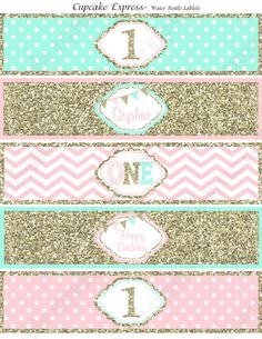 One First Birthday girl  pink  mint gold PRINTABLE Water Bottle Labels  chevron polka dot glitter 1st birthday - 1031