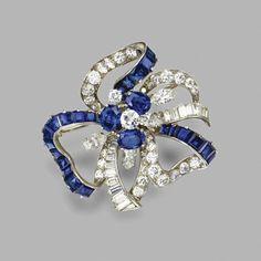 Sapphire and diamond bow brooch, Oscar Heyman & Brothers Inc., 1961