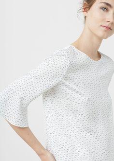 Blusa manga volante - Camisas de Mujer | MANGO México