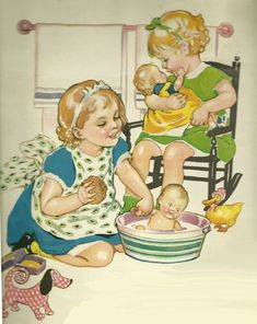 Vintage Children's Book Illustration - girls used to be bred to be mothers and homemakers as a child.