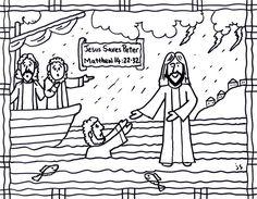 Jesus Walks On Water Bible Card Coloring Sheet