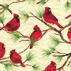 Christmas Fabric Michael Miller YARD Holiday Birds Cardinal /& Birdcage White