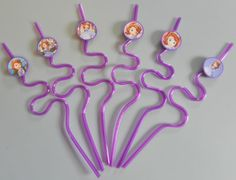 Sofia the First Krazy Straws Set of 12 purple by PartyBees on Etsy, $15.00