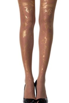 """Get them while they're hot! #trendylegs """"Celebration"""" Floral Tattoo Sheer #Tights Skin Color & Gold have been flying off the shelves! Shop: http://www.trendylegs.com/shop/celebration-floral-tattoo-sheer-tights-skin-color-gold/"""