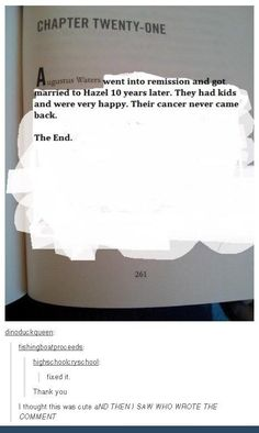 And finally, when the ACTUAL JOHN GREEN commented on this edit.