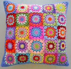 another patchwork granny square cushion cover | Flickr - Photo Sharing!
