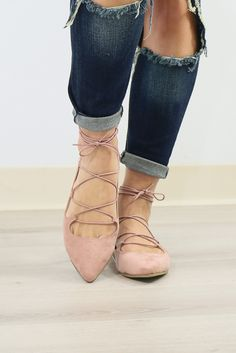 Chinese Laundry Elegant Dancer Rose Pink Suede Lace-Up Ballet Flat - Amazing Lace Lace Up Ballet Flats, Lace Up Shoes, Cute Shoes, Me Too Shoes, Ballerina Flats, Sock Shoes, Shoe Boots, Baskets, Wedding Shoes