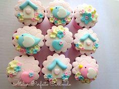 Fondant Cupcakes, Cute Cupcakes, Cute Cookies, Birthday Cupcakes, Cupcake Cakes, Torta Baby Shower, Baby Shower Cupcakes, Cap Cake, Candy Decorations