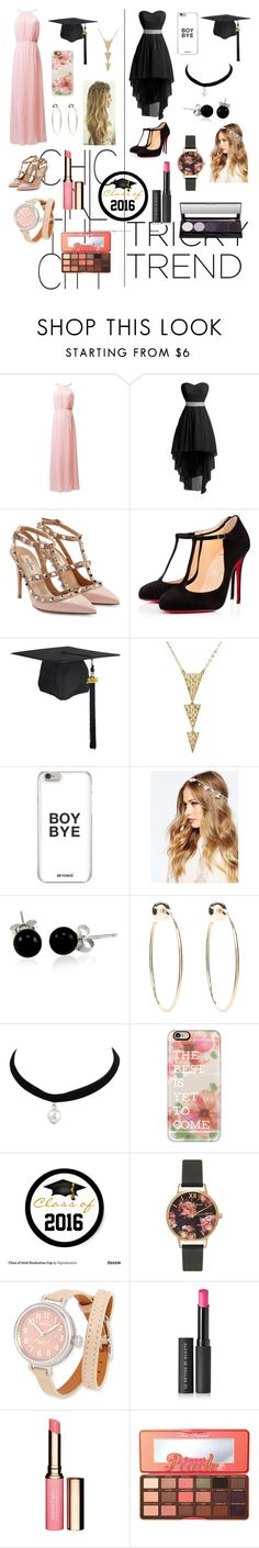 """""""Graduation clothes Girly girl Vs. Tomboy"""" by phoenixsouniquee ❤ liked on Polyvore featuring Valentino, Christian Louboutin, ASOS, Bling Jewelry, Bebe, Casetify, Olivia Burton, Shinola, Le Métier de Beauté and Clarins"""