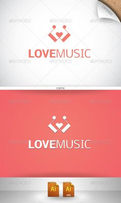 Love Music - Logo Design Template Vector #logotype Download it here: http://graphicriver.net/item/love-music-logo/853102?s_rank=532?ref=nexion