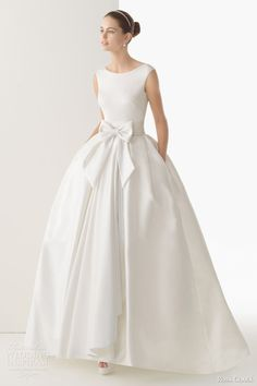 rosa clara bridal 2014 cordoba silk knit rustic silk skirt ball gown...just get rid of that bow on front and with a sweetheart neck line and it would be beautiful