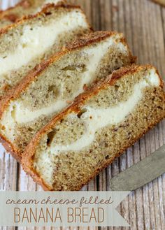 Delicious Banana Bread with a Cream Cheese layer in the middle - SO good!! { lilluna.com }