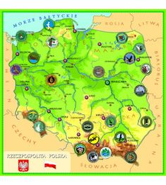Parki narodowe - magnetyczna mapa Polski Parka, Map, Location Map, Maps, Parkas